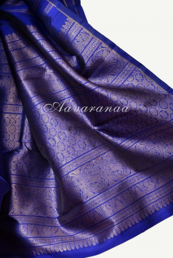 Royal blue orange half half kanchi silk saree -17972