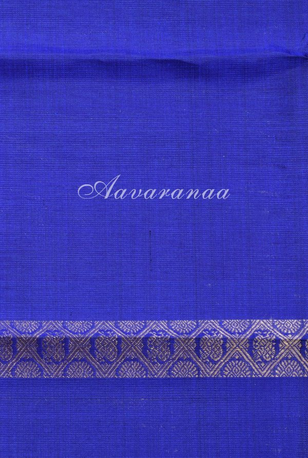 Royal blue orange half half kanchi silk saree -17969