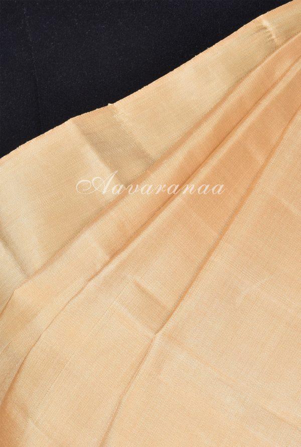 Plain cream kancheepuram silk with brocade pallu-17973