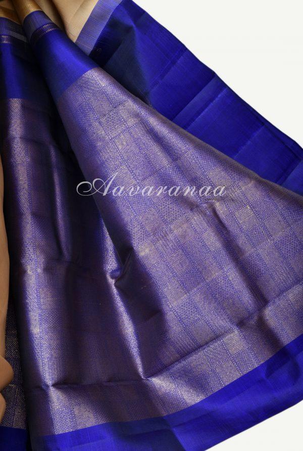 Plain cream kancheepuram silk with brocade pallu-17976