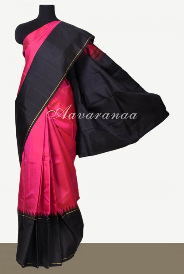 Plain pink kanchi silk saree with black korvai border-0