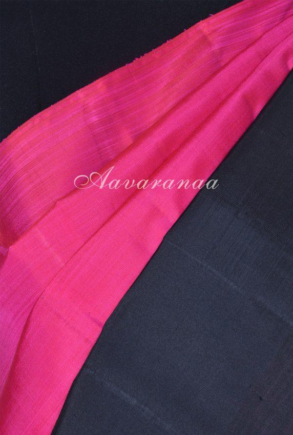 Plain pink kanchi silk saree with black korvai border-17994