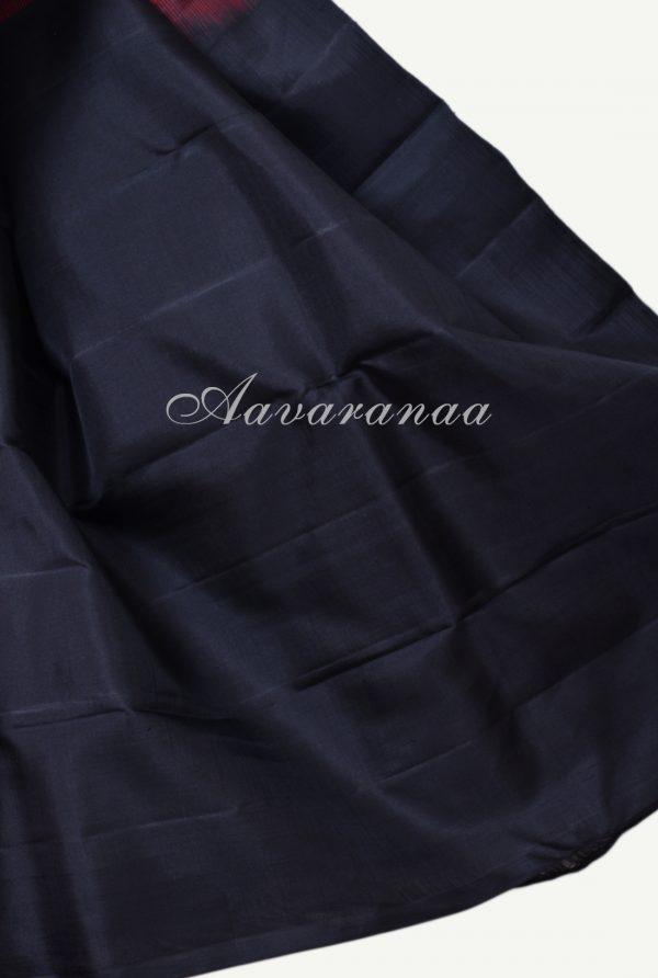 Plain pink kanchi silk saree with black korvai border-17996