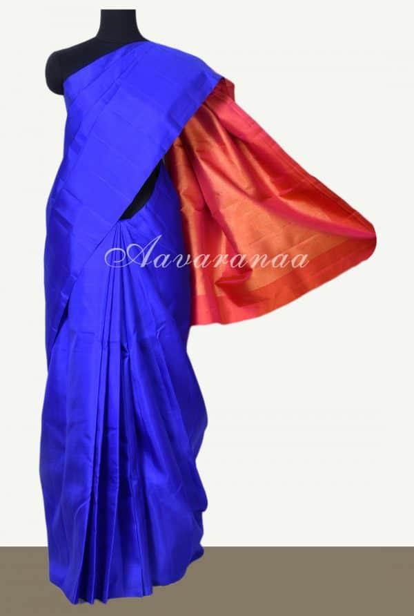 Royal blue plain kanchi silk saree with brocade pallu blouse-0