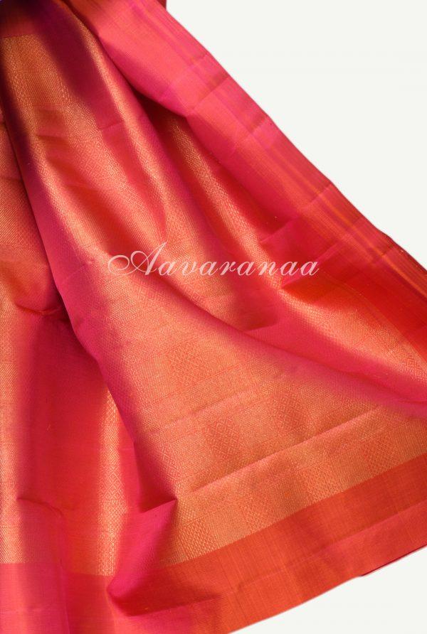 Royal blue plain kanchi silk saree with brocade pallu blouse-18014