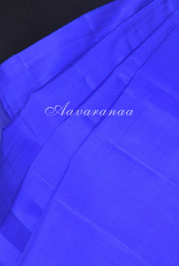 Royal blue plain kanchi silk saree with brocade pallu blouse-18016