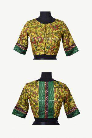 Green kancheepuram silk kalamkari blouse-0