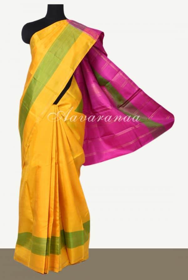 Yellow and pink kanchi silk saree-0