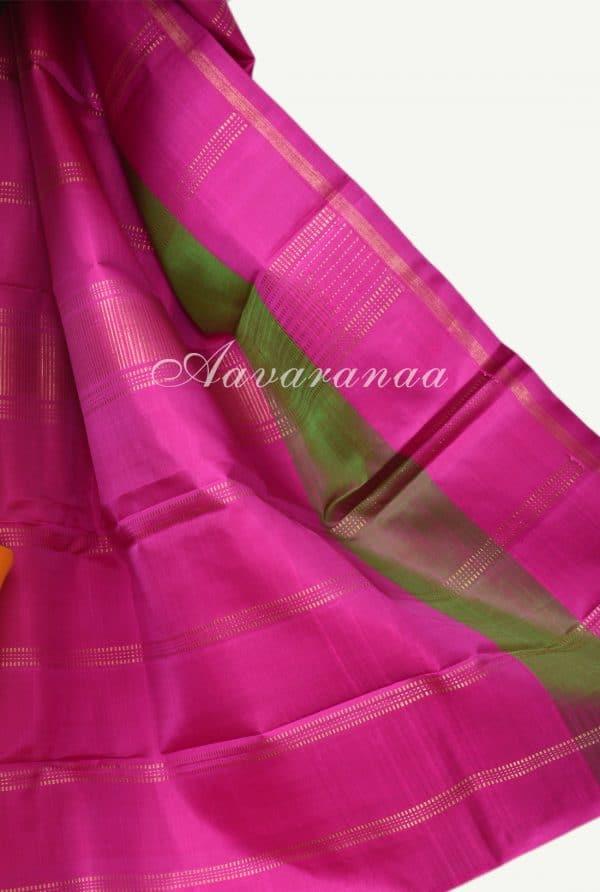 Yellow and pink kanchi silk saree-18207
