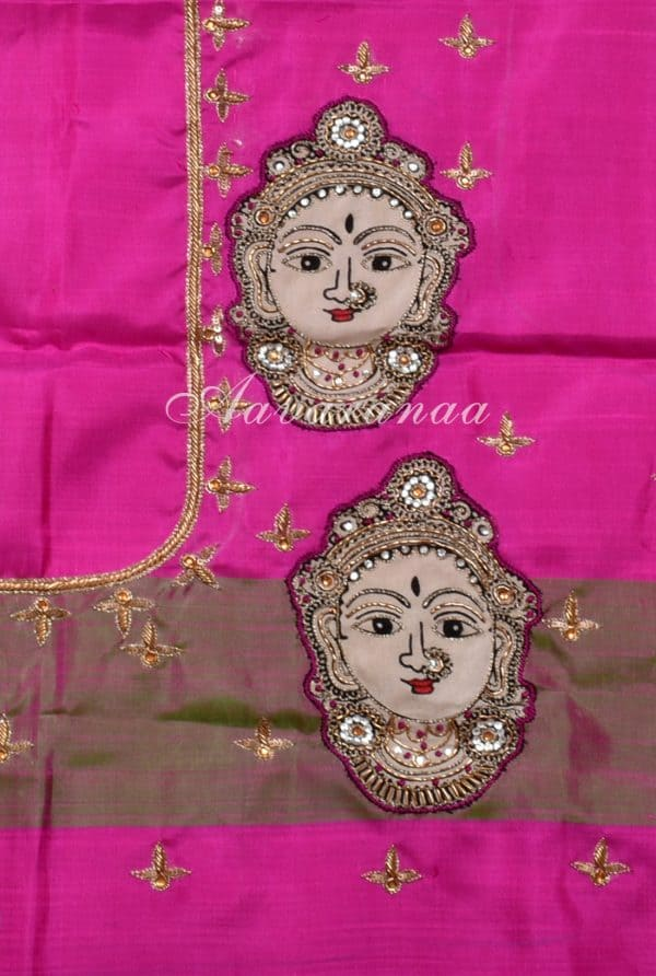 Yellow and pink kanchi silk saree-18206