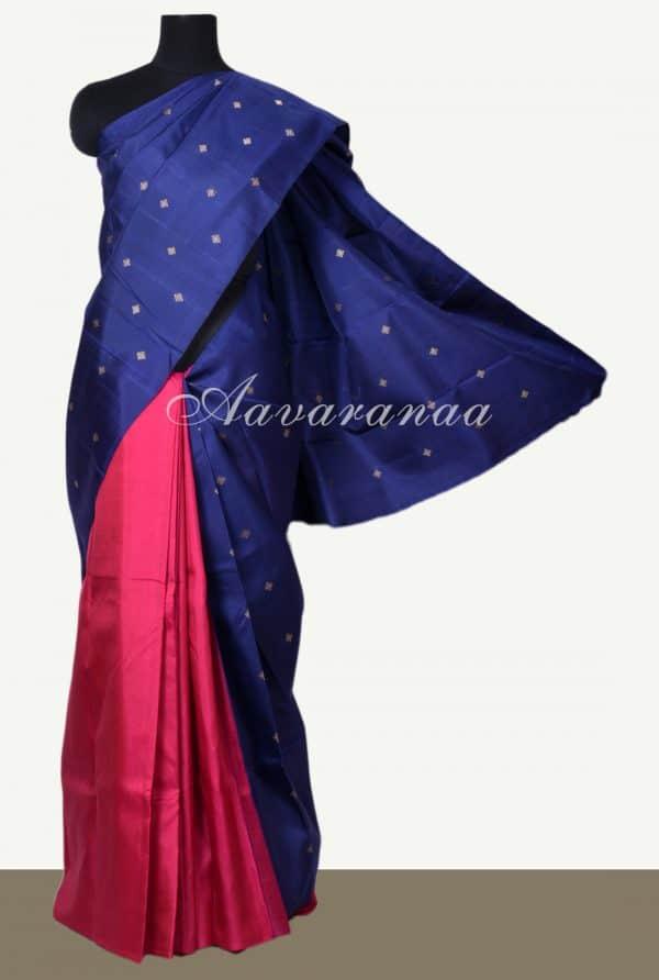 Navy blue and pink half and half kanchi silk saree-0