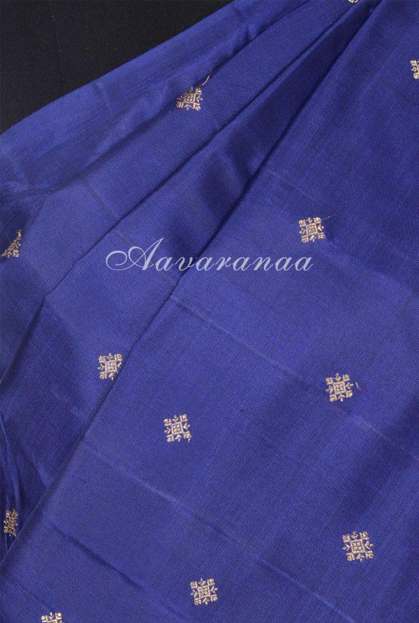 Navy blue and pink half and half kanchi silk saree-18211