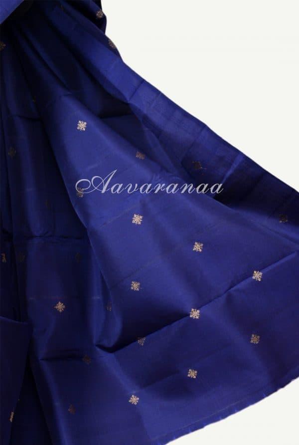Navy blue and pink half and half kanchi silk saree-18209