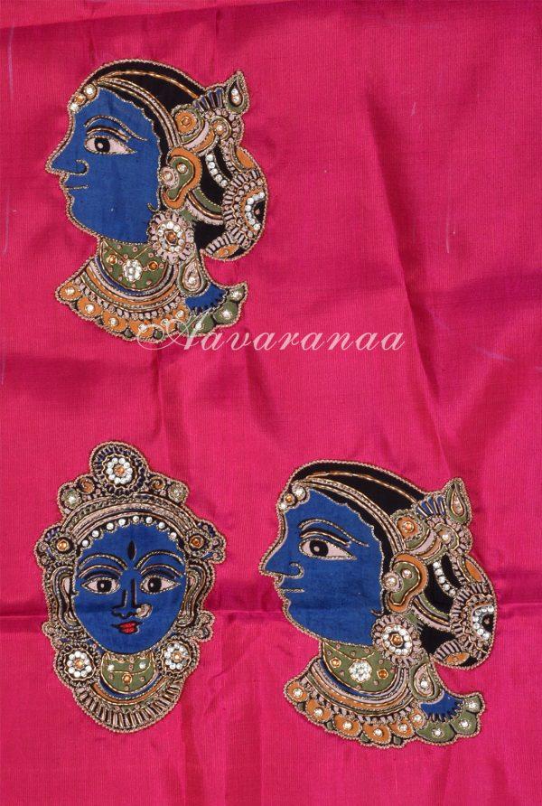 Navy blue and pink half and half kanchi silk saree-18212