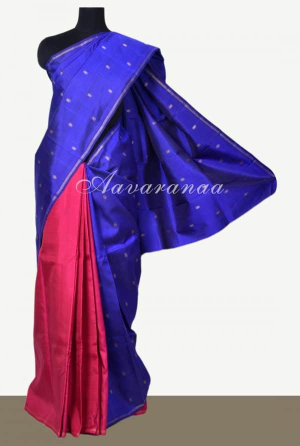 Blue and pink half n half kanchi silk saree-0