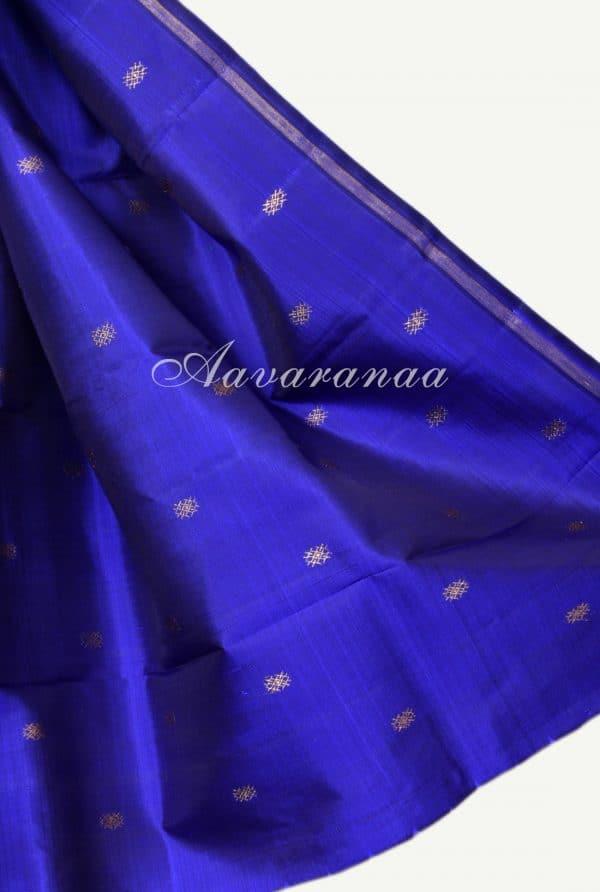 Blue and pink half n half kanchi silk saree-18227