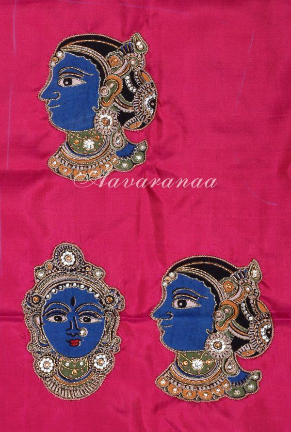 Blue and pink half n half kanchi silk saree-18225