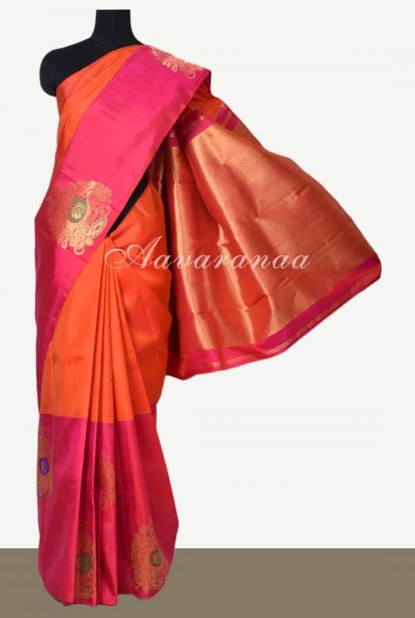 Rust orange hand woven kancheepuram silk saree-0