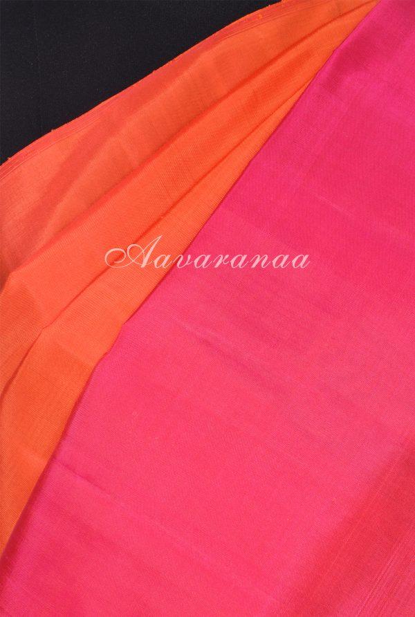 Rust orange hand woven kancheepuram silk saree-18236