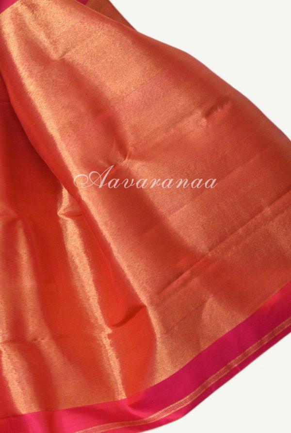 Rust orange hand woven kancheepuram silk saree-18235