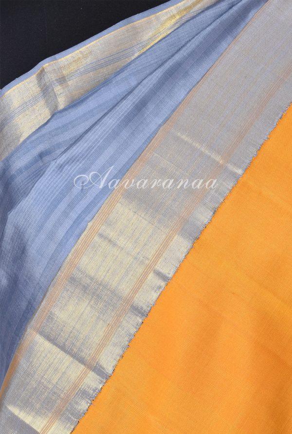 Grey and yellow kancheepuram silk saree-18258