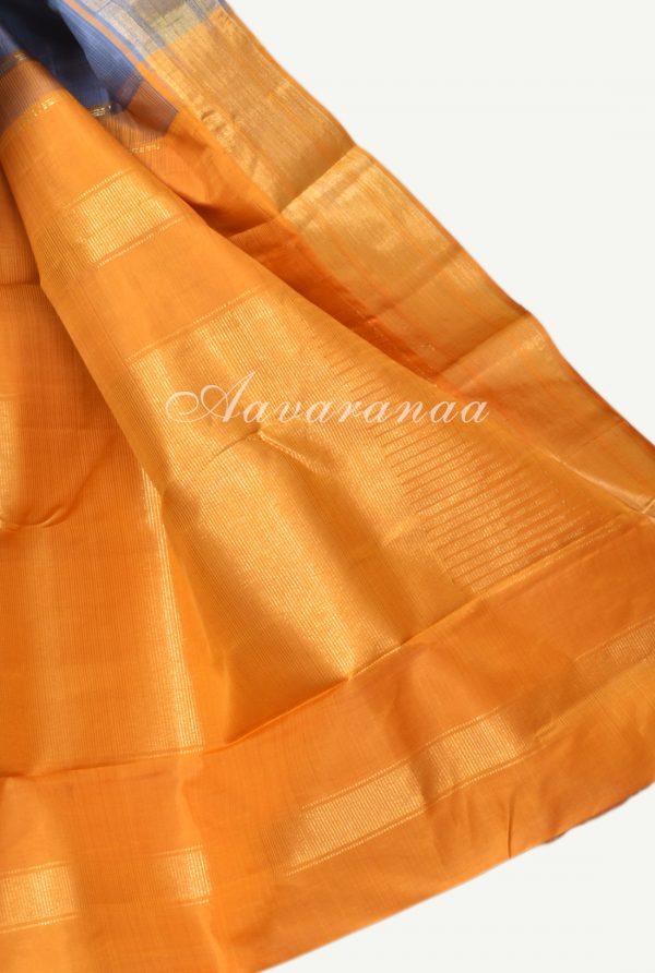 Grey and yellow kancheepuram silk saree-18259