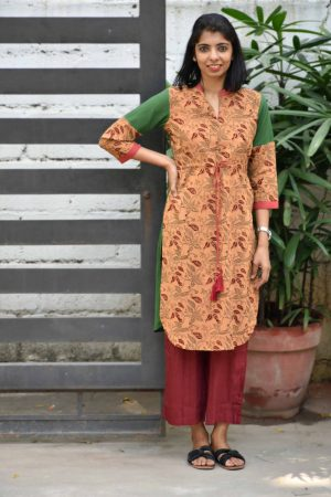 Brown kalamkari print cotton kurta-0
