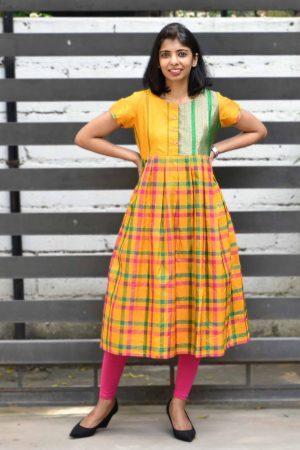 Mustard kanchi silk tunic-0