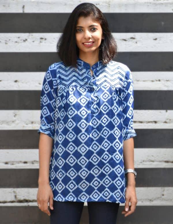 indigo blue modal silk tunic-0