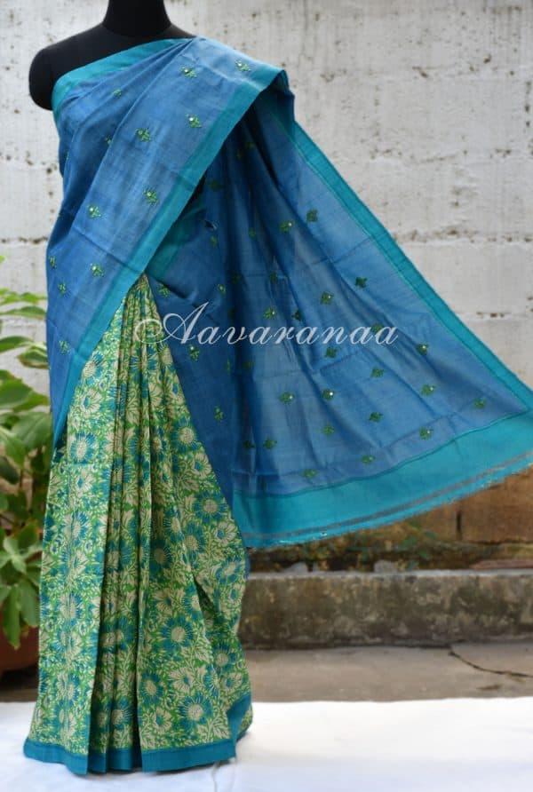 Blue and green half n half tussar saree-0