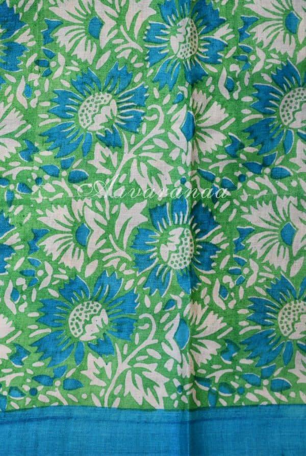Blue and green half n half tussar saree-18271