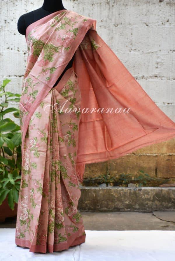 Pink tussar saree with floral print-0