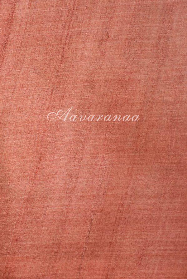 Pink tussar saree with floral print-18291