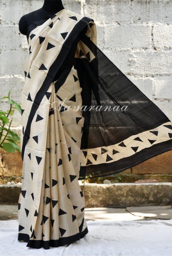 Beige and black tussar saree-0