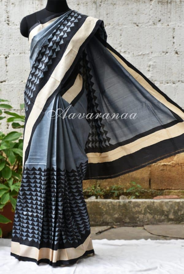 Grey and black block printed tussar saree-0