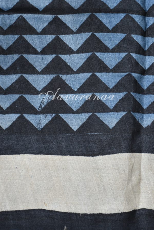 Grey and black block printed tussar saree-18296