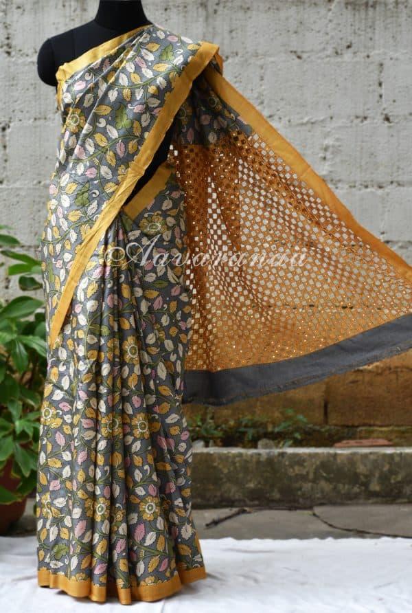 Grey tussar saree with cut-work pallu-0