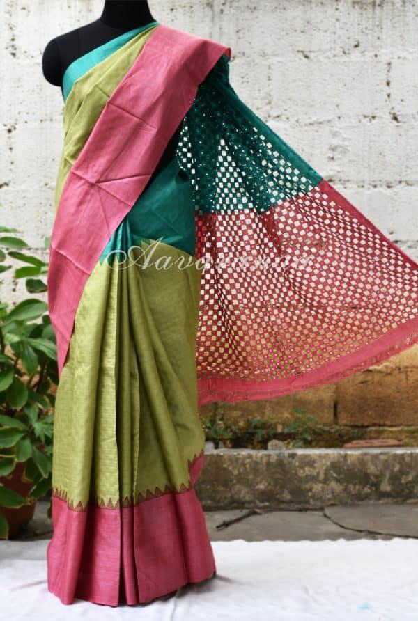 Light green with ganga-jamuna border tussar saree-0