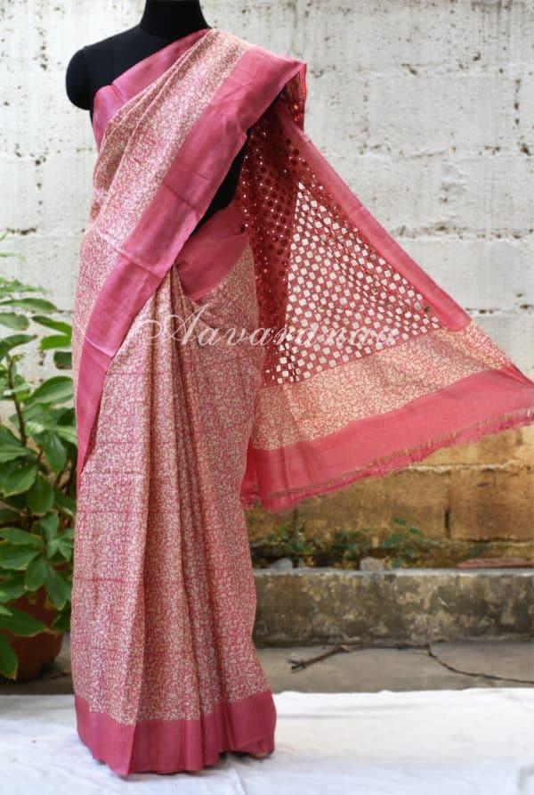 Pink tussar saree with cut-work pallu-0