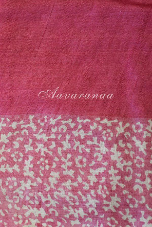 Pink tussar saree with cut-work pallu-18315