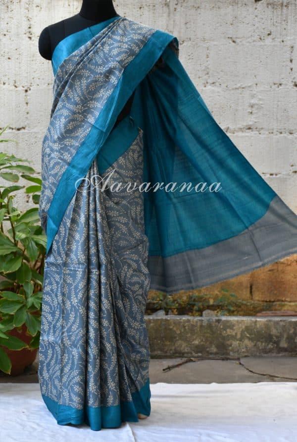 Grey and blue leaf block printed tussar saree-0