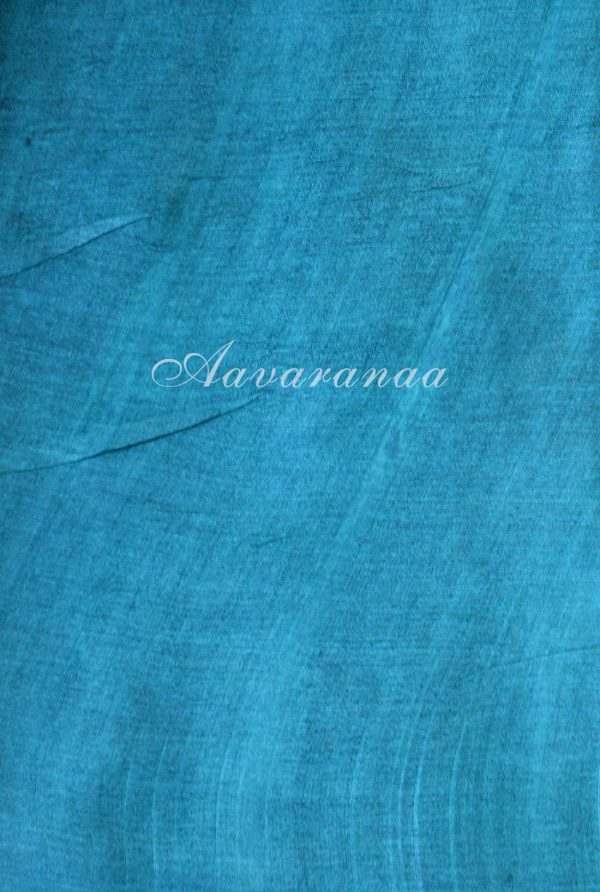 Grey and blue leaf block printed tussar saree-18318