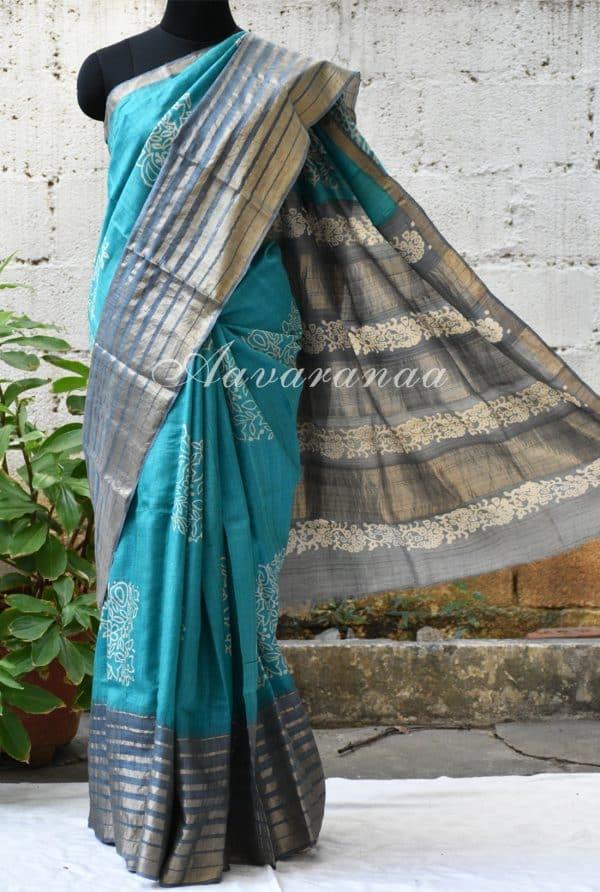 Blue and grey tussar saree-0