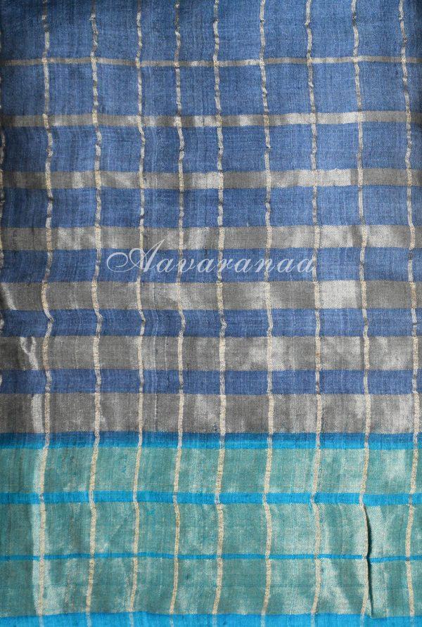 Blue and grey tussar saree-18320