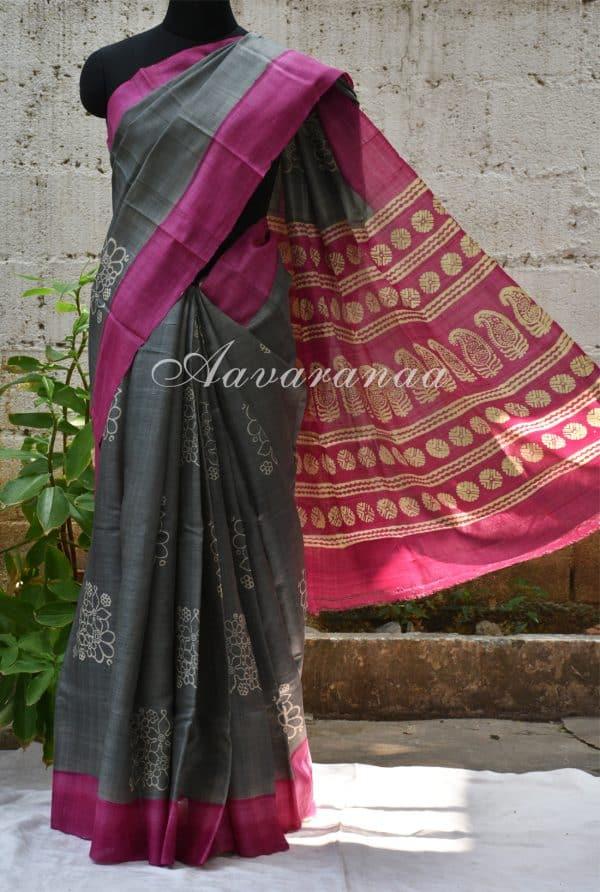 Grey and pink tussar saree-0