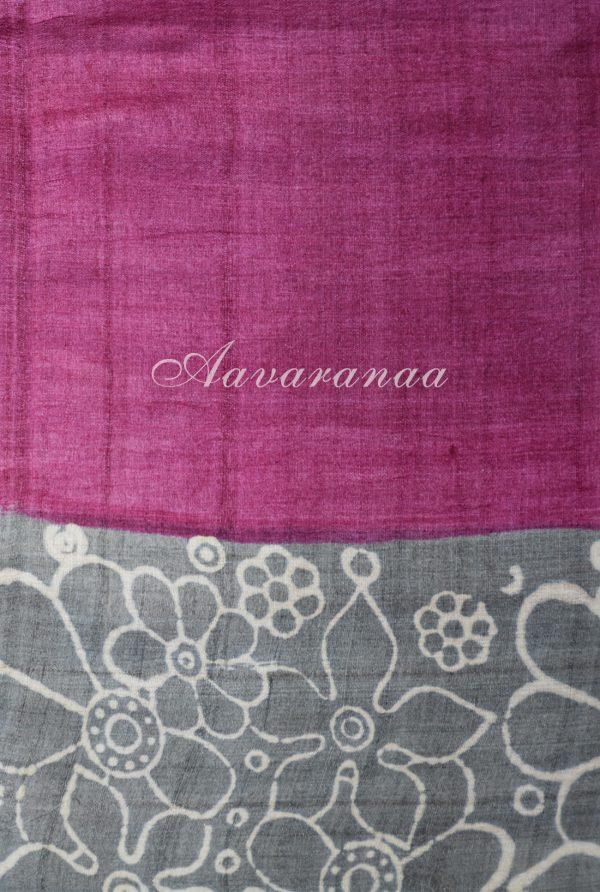 Grey and pink tussar saree-18333