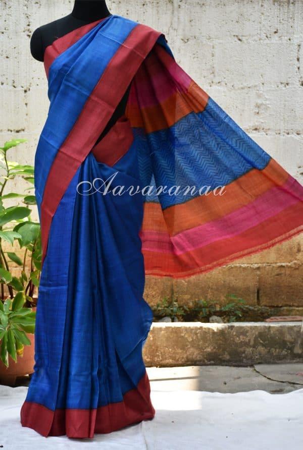Plain blue with red border tussar saree-0