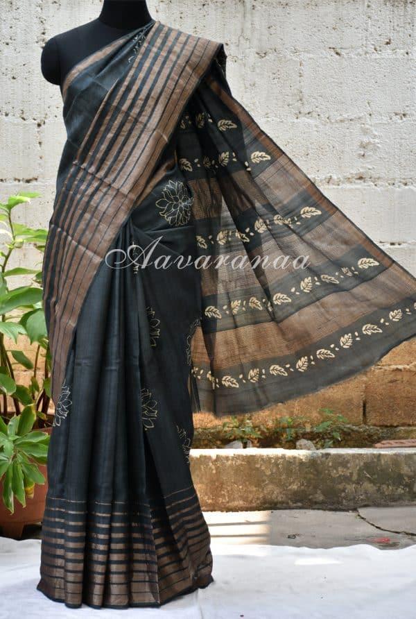 Dark grey zari woven tussar saree-0