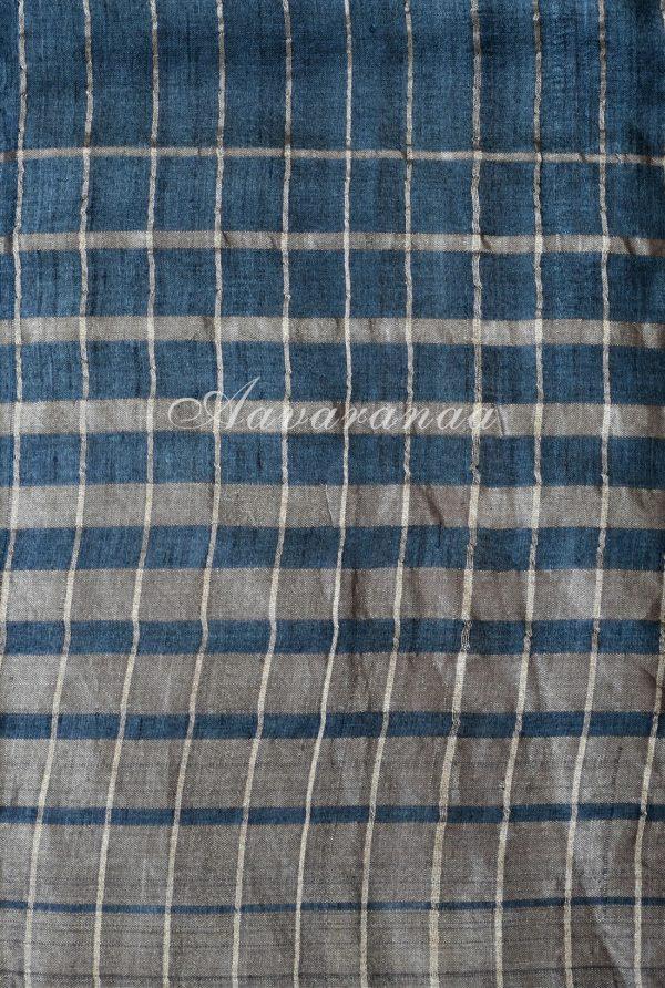 Dark grey zari woven tussar saree-18340