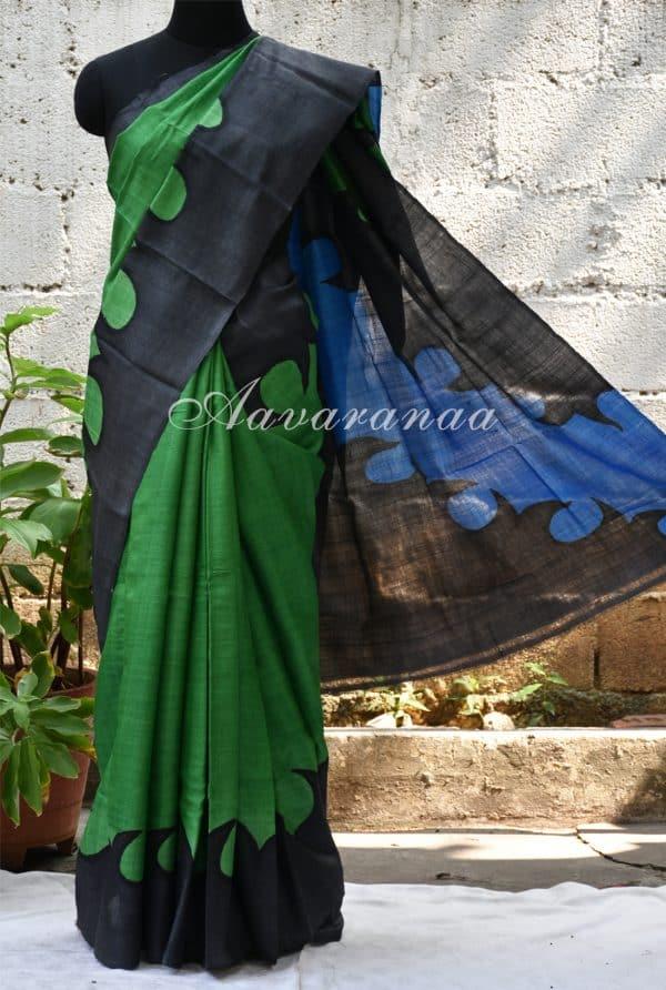 Green and black abstract border tussar saree-0